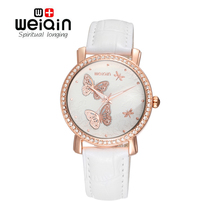 WEIQIN Fashion Rhinestone Women Luxury Quartz Watch Watches Butterfly Dial PU Leather Strap Rose Gold Case Dress Wristwatches