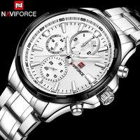NAVIFORCE Relogio Masculino Mens Watches Top Brand Luxury Black Steel Quartz Watch Men Casual Sport Chronograph Wristwatch