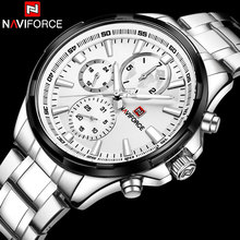 NAVIFORCE Relogio Masculino Mens Đồng Hồ Top Brand Luxury Đen Steel Quartz Watch Men Casual Thể Thao Chronograph Đồng Hồ Đeo Tay