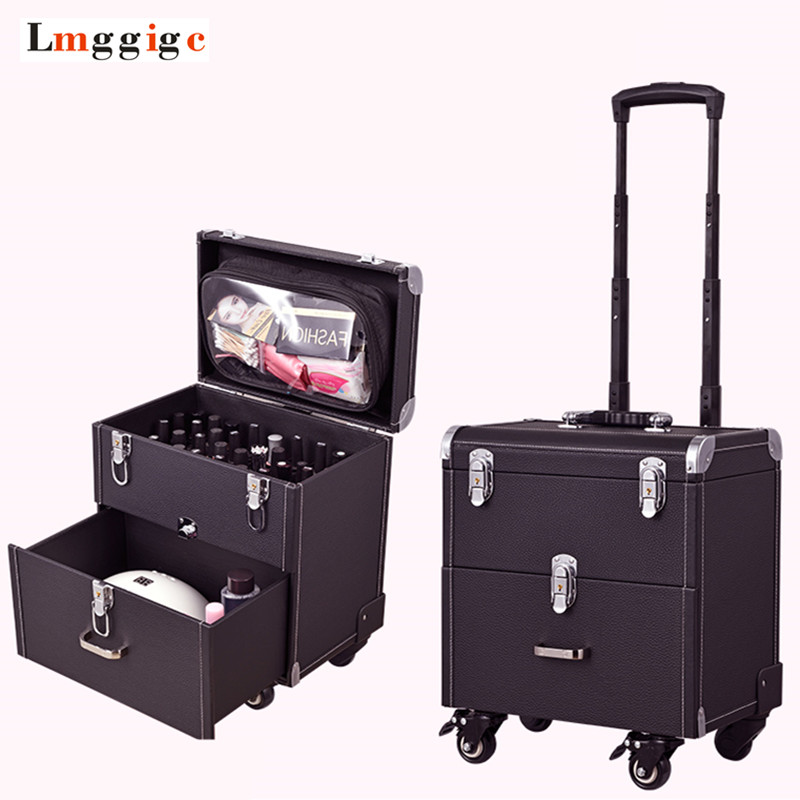 Cosmetic case with wheels,Rolling cosmetic bag,Vintage makeup tools Beauty box,High capacity make-up trolley case with drawer