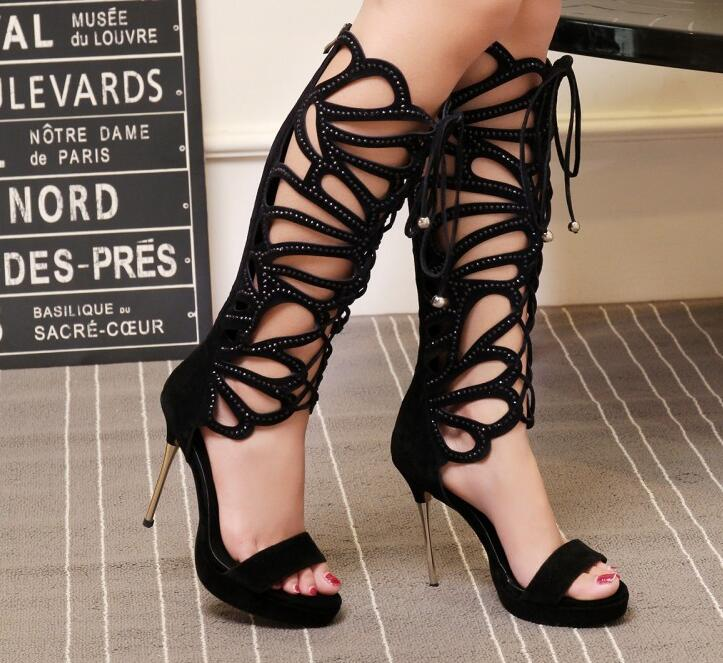 Open Toe Ladies Cut Out Gladiator Boots Metal Heel Crystal Straps Women Knee High Boots Female Dress Shoes Lace Up Front Shoes