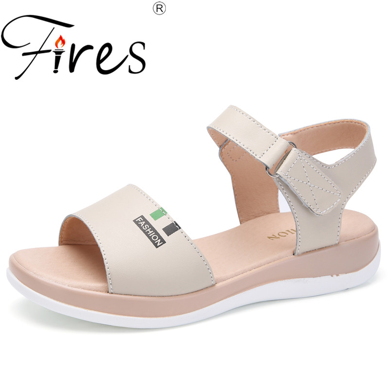 Fires High Quality Summer Women Sandals Comfortable PU Leather Flat Comfort Sandals Lady Shoes Woman WhiteCasual Sandalias kesmall summer women sandals comfortable pu flat comfort sandals lady shoes woman white sandalias women wedges slippers home