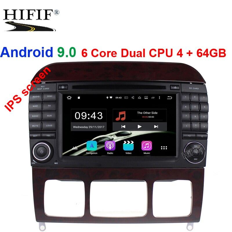 IPS 2 Din Auto Radio Android 9.0 pour Mercedes/Benz/W220/W215/S280/S320/S350/S400 S classe voiture lecteur vidéo multimédia GPS DVR