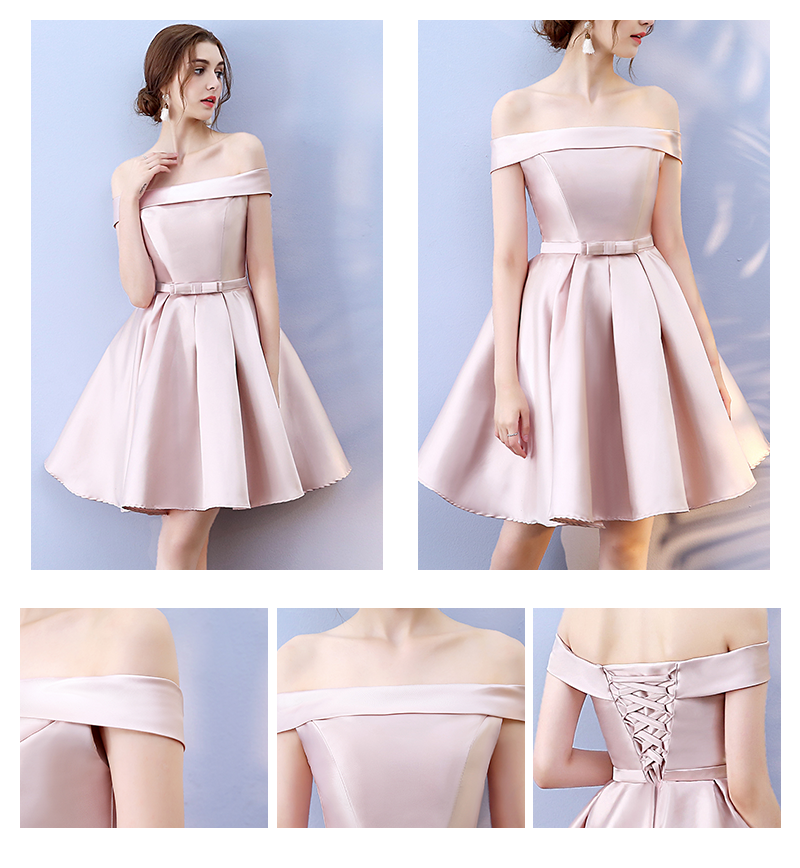 Red Bean Pink Colour Above Knee Mini Dress New Women 39 s Satin Bridesmaid Dress Sisters Wedding Banquet Back of Bandage in Bridesmaid Dresses from Weddings amp Events