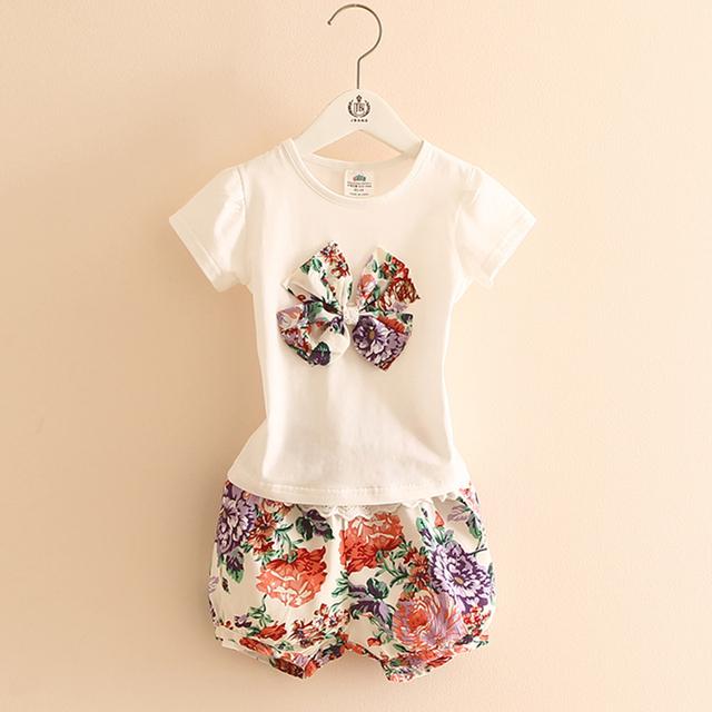 Meninas T-shirts Menina Top O-pescoço de Manga Curta + Short Calças Meninas Flor Impressão Elástico Na Moda Verão 2 Peças Crianças roupas 2855 W