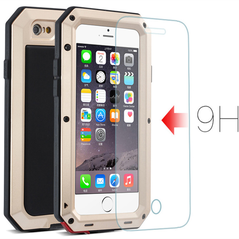 For iphone 7 Shockproof IPX3 CellPhone Case For iPhone 7Plus Waterproof Powerful Aluminum Gorilla Glass Metal Cover for iphone7s