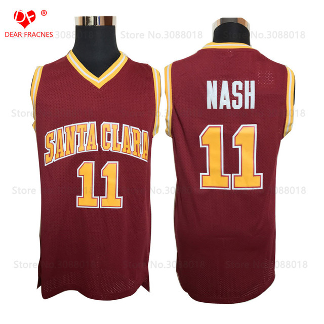 430f0186c5fe Wholesale Mens College Cheap Basketball Jerseys  11 Steve Nash Jersey Santa  Clara Retro Stitched Throwback Basket-ball Shirt