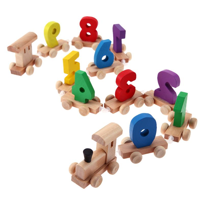 Baby Mini Wood Train Toy Children Digital Number Wooden Toys Train 0-9 Figures Railway Model Kids Early Educational Toys Gift