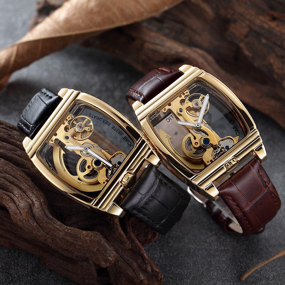 Goldene Mechanische Uhren Männer Top Luxus Marke Automatische Selbst Wickel Armbanduhren Einzigen Brücke Uhr Transparent Skelett Stunde