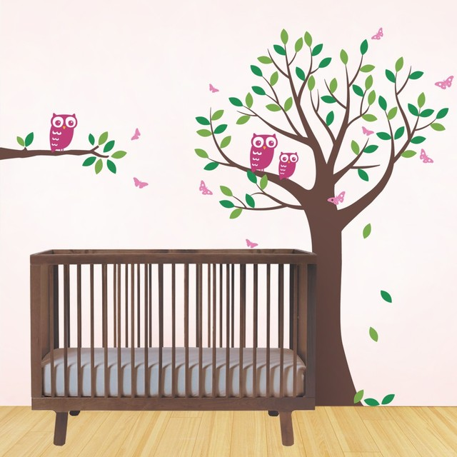 Mignon Hiboux Papillons Grand Arbre Stickers Muraux Pour Enfants ...
