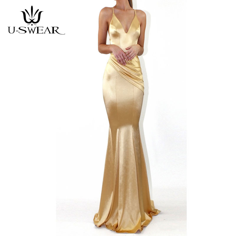 U-SWEAR Sexy V-Neck Sleeveless Backless Spaghetti Straps Evening Dresses Party Prom Formal Gowns Long Vestidos Robe De Soiree
