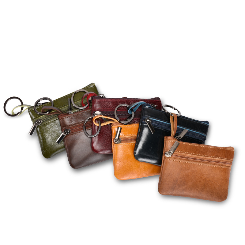832705bf994d Vintage Women Genuine Leather Clutch Small Key Wallet Zipper Multi  functional Slim Men Coin Purse Money Card Holder Case -in Coin Purses from  Luggage   Bags ...