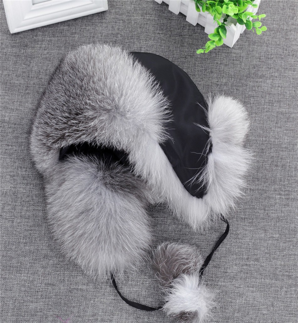 On Sale 100% Real Fox fur Women's Russian Ushanka Aviator trapper snow skiing Hat caps earflap winter raccoon fur Bomber hat 26