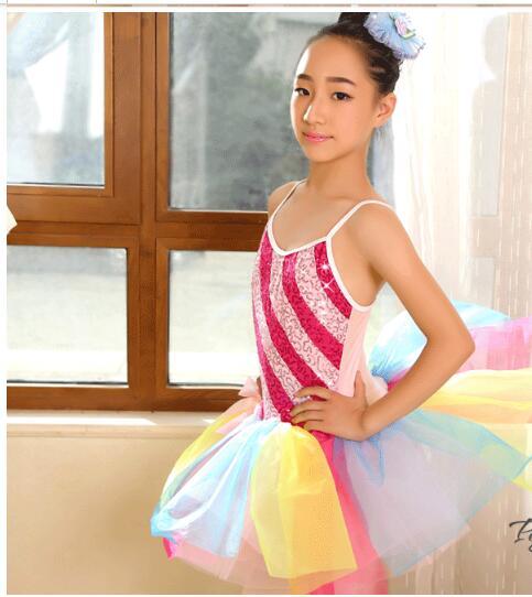 rainbow colorful tutu dancing costume modern jazz adult kids Ballet Dance Ballerina Girls ballet dress leotard