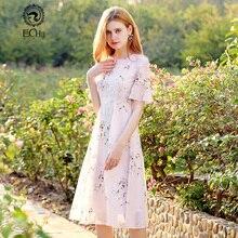 2018 г. новые милые Стиль модные цветочные шифон-линии женская обувь S-XL Размеры Для женщин О-образным вырезом с рукавом-бабочкой платье