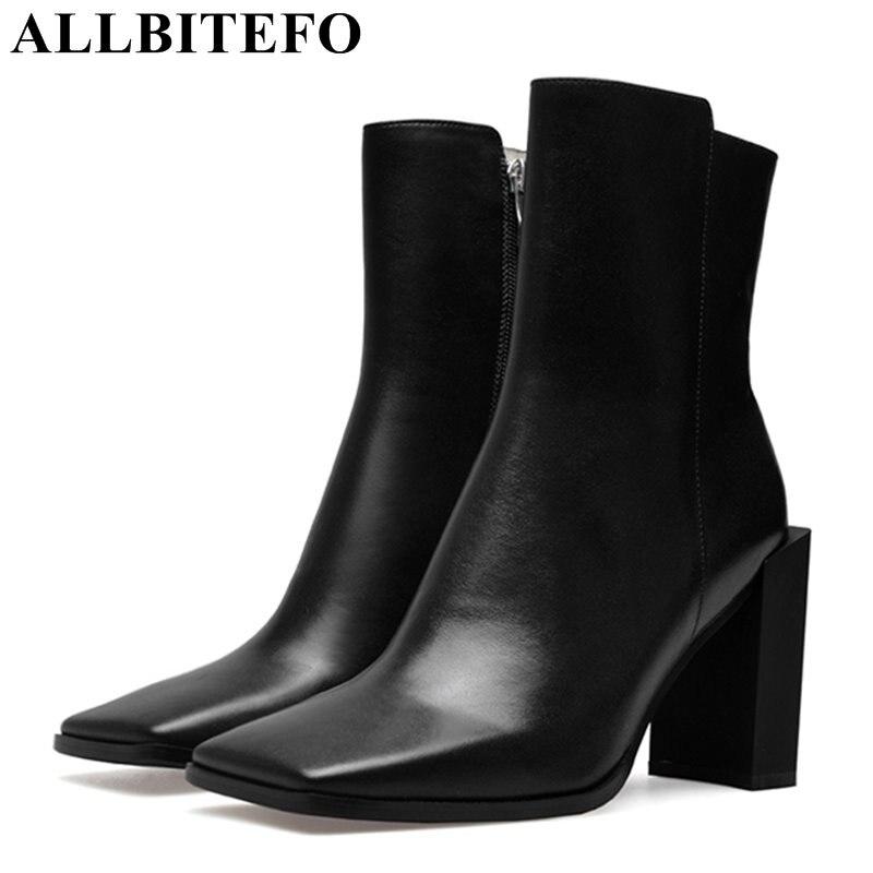 Allbitefo Fashion Brand Square Toe Patent Leather High