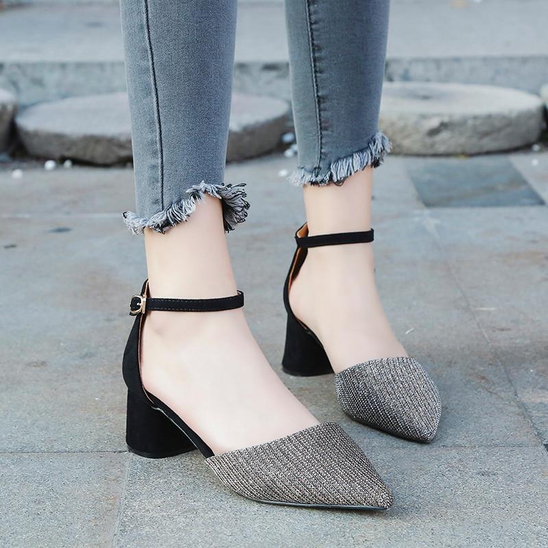 Musim Panas Gaya wanita Pergelangan Pergelangan Kaki persegi heels - Sepatu Wanita - Foto 5