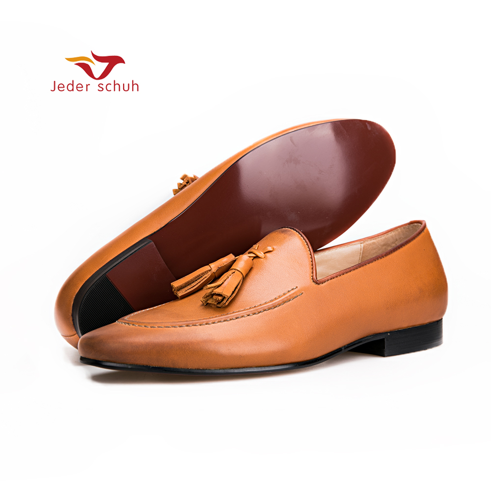 Men shoes Brown colors men genuine leather shoes with leather tassel men handmade smoking slippers wedding and party men loafers fghgf shoes men s slippers mak