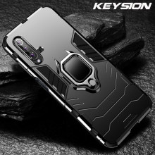 KEYSION Shockproof Armor Case For Huawei Honor 20 Pro 10i 20i Lite P30 Stand Holder Car Ring Phone Cover for Y5 Y6 Y7 Y9 2019(China)
