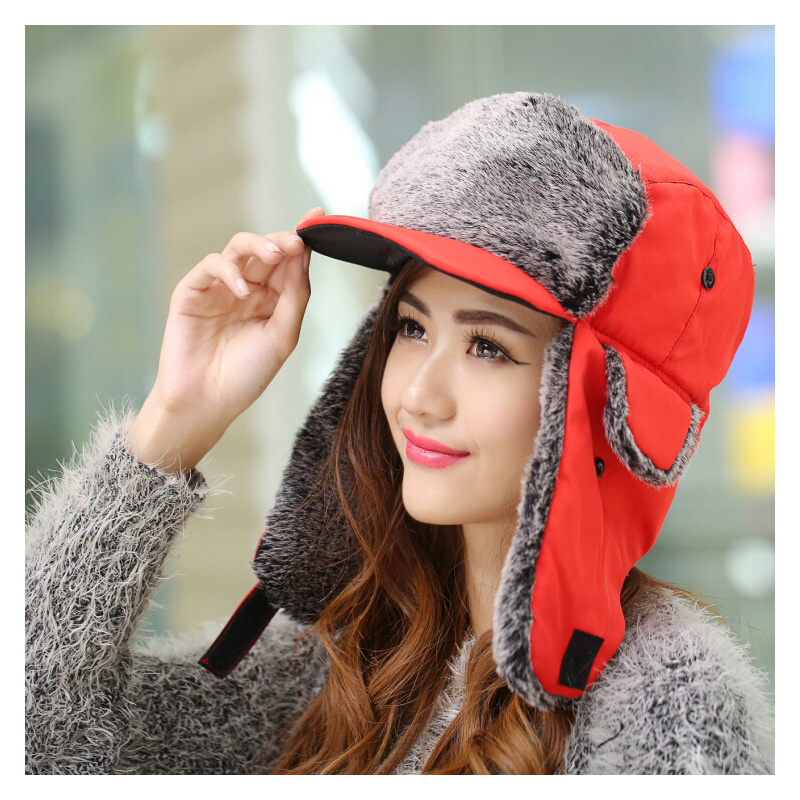 Winter Hat Bomber-Hat Earflap Women Fashion Unisex for Trapper Cold Wind-Visor-Cap Red