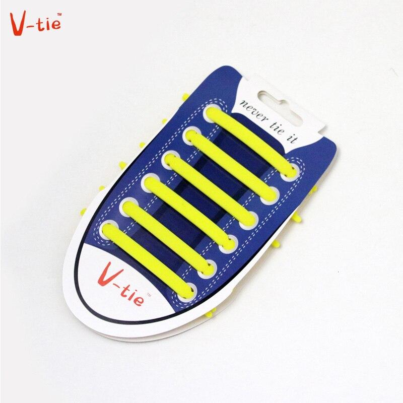 Suit 1-50 Sets Solid Yellow Creative Flexible Luminous Creative Silicone No-Tie Shoelaces Elastic Trainers Unisex Lazy Shoe Lace
