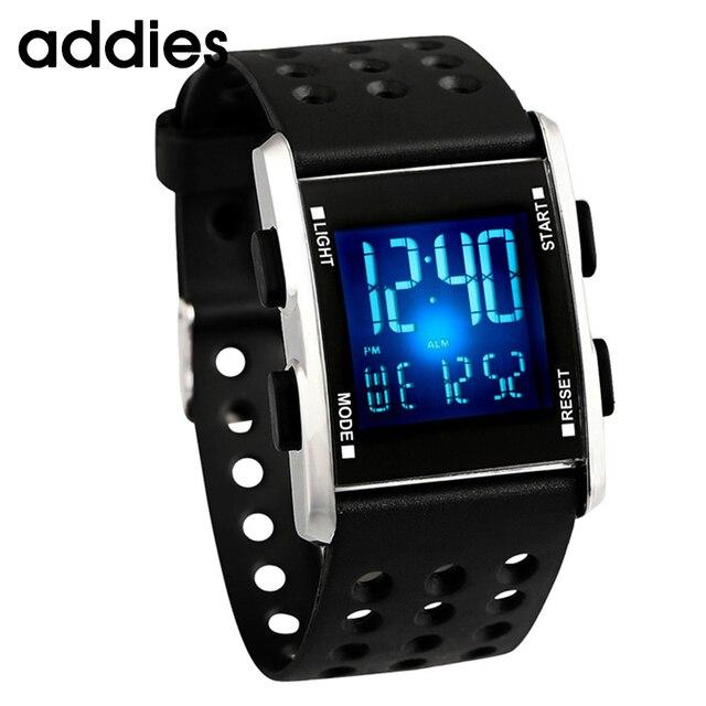 3f183bd0f8168 الرجال led ساعة اليد للماء الإلكترونية الرياضة الساعات عارضة الأزياء ساعة  رقمية تشغيل هدية مربع Reloj