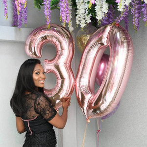 Image 2 - 1PCS 40inch gold silver number foil balloons 0 1 2 3 digit helium baloon my 1st 30th birthday party supplies Anniversary decor