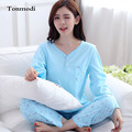 Pajamas for women Spring and autumn long-sleeve cotton sleepwear loose casual solid color Women lounge Pajama set