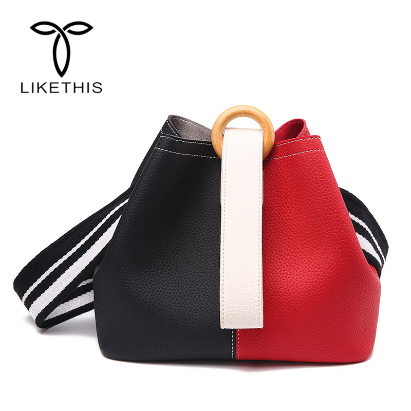 Women Bucket Bag Strap Vintage Bucket Bag Women PU Leather Shoulder Bags Brand Desinger Ladies Crossbody Messenger Bags 168-337