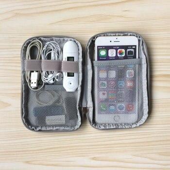 Zestaw podróżny mała torba etui na telefon cyfrowy gadżet urządzenie USB kabel do transmisji danych organizer do kabli torba podróżna włożona do torby do przechowywania
