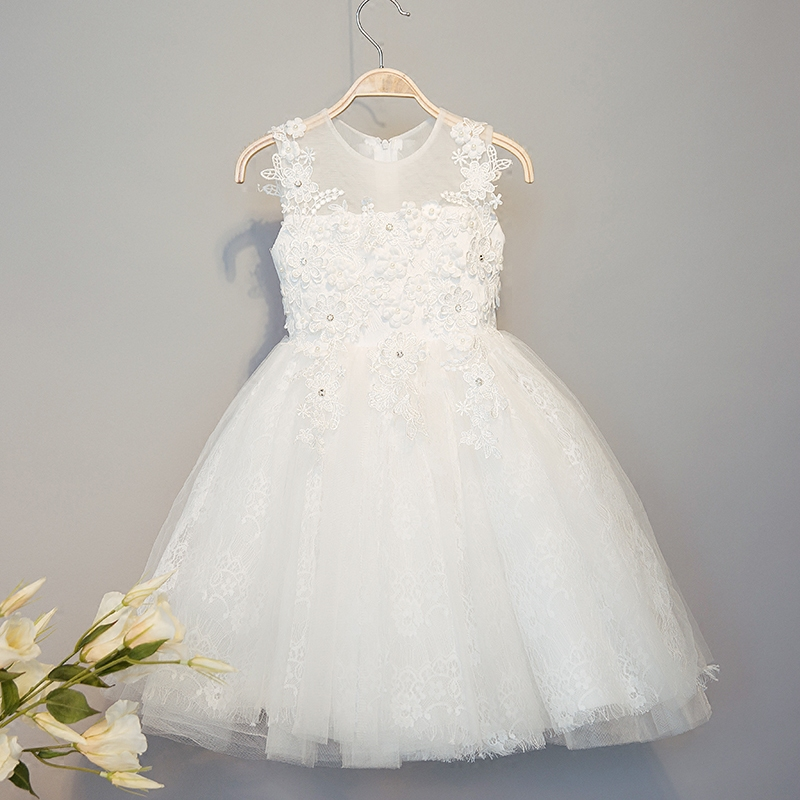 Children Girls Dresses Flower Wedding Cute Princess Summer White Gauze O-neck Dress Kids Girls Clothes HS103 flower children princess dress 2018 summer sleeveless kids lace dresses for girls mesh o neck teens party wedding clothes 3 12y