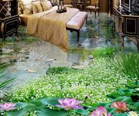 3d flooring custom luxury wallpaper 3d floor Waterfalls Lotus Carp 3d room wallpaper 3d flooring waterproof wall paper