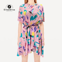 Новое шелковое женское платье, элегантное платье трапециевидной формы с принтом, Повседневное платье 2019, весна лето, платье с короткими рук