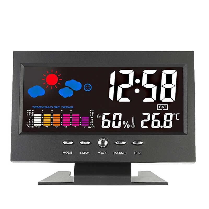 Mrosaa LCD Kỹ Thuật Số Đồng Hồ Báo Thức Nhiệt Kế Đo Độ Ẩm Trạm Thời Tiết bảng Đồng Hồ Lịch Despertador Điện Tử Trẻ Em đồng hồ