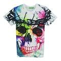 Verano Estilo mujeres camiseta de la manera 3d Del Cráneo camiseta para hombre Swag de Hip Hop Skate Camiseta Ocasional tees Impreso Arropa El Envío Libre