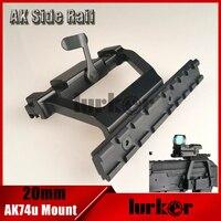 KINSTTA Tactical AK 74U Monte Quick release 20mm Lado AK Rail Bloqueio Scope Mount Base para AK 74U Rifle de Caça & CS batalha
