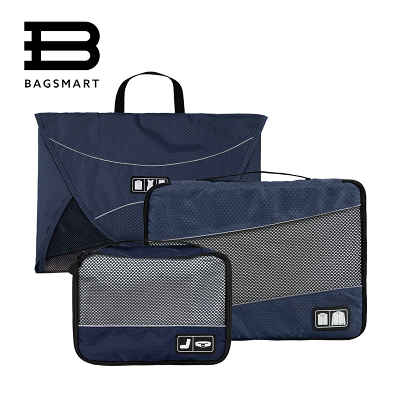 BAGSMART 3 Pcs/Set Nylon Packing Cubes For Clothes Unisex Travel Bags For Shirts Waterproof Duffle Bag Organizers Bags bagsmart 7 pcs set packing cubes travel luggage packing organizers unisex weekend luggage bag travel organizers with laundry bag