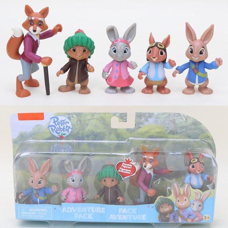 Action-Figure Model-Toy Adventure-Pack Lily Benjamin Bunny Peter Rabbit 6-9cm PVC 5pcs/Set