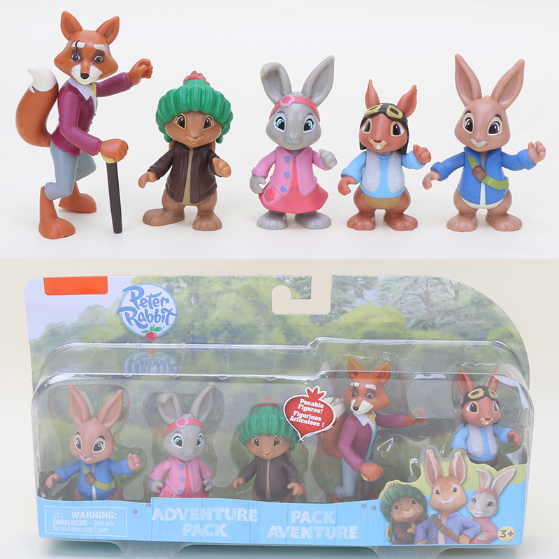5pcs/set 6-9cm Peter Rabbit lily bobtai benjamin bunny squirrel nutkin  Mr.tod Adventure Pack PVC Action Figure model Toy