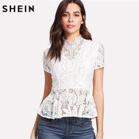 SHEIN Blouse Women Short Sleeve Ruffle Hem White Elegant Lace Blouses Stand Collar Slim Fit Pearl