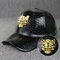 High Quality Leather Cap for Men women Winter Pu Leather Baseball Caps Brand lion Snapback Hat Bone Masculino Fitted couple hats