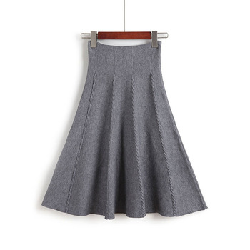 2019 Autumn Winter Knitted Skirt Women Midi High Waist A Line Knit Skirts One-pieces Seamles Pleated Elastic Thick Faldas 4