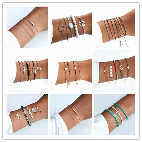 Summer Hot Sale Bohemian Style Bracelet Set Boho Charm Pulseras Simple Natural Stone Bracelet For Women Silver Gold Love Chain
