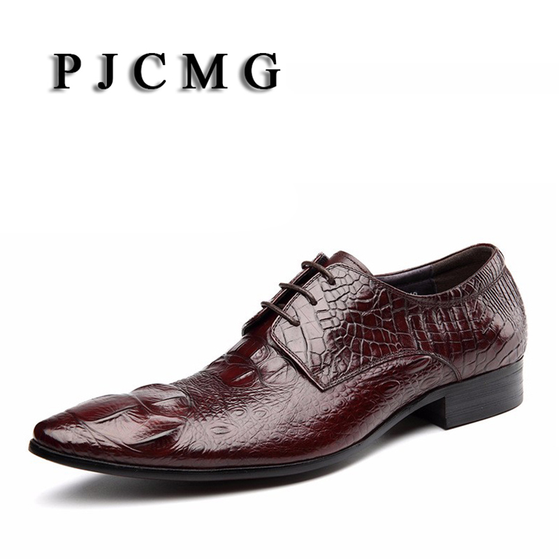 PJCMG High Quality Crocodile Grain Black/Wine Red Mens Lace-Up Dress Genuine Leather Pointed Toe Business Formal Oxfords Shoes high quality carved black red mens dress oxfords lace up pointed toe genuine leather wedding mens business for work shoes