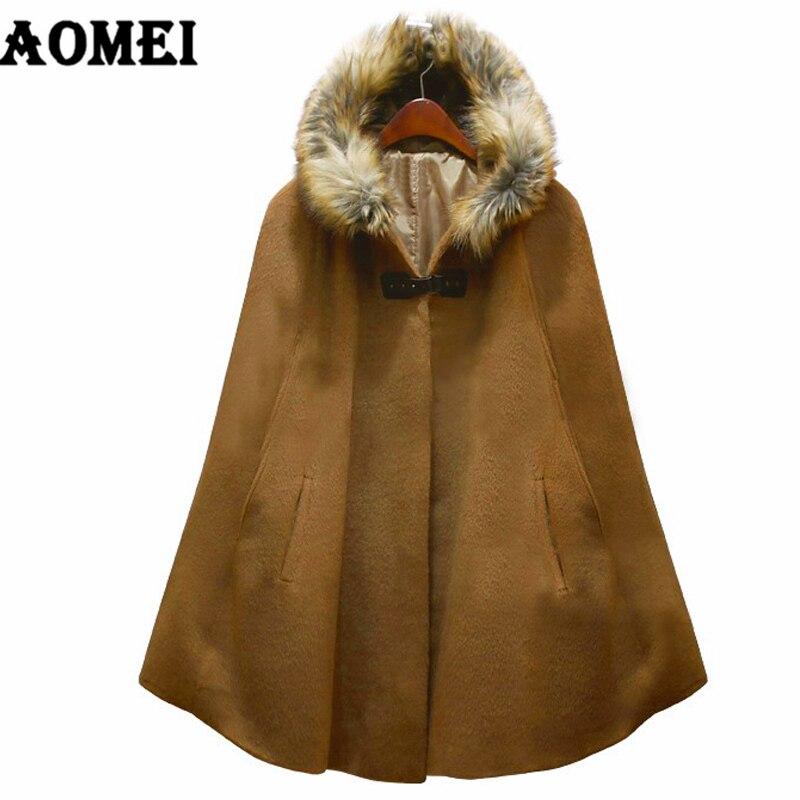 Новинка, модная женская Зимняя шерстяная теплая накидка, пончо, накидка, пальто, полушерстяная верхняя одежда с меховым капюшоном, верхняя одежда, свободное манто для женщин - Цвет: CAMEL