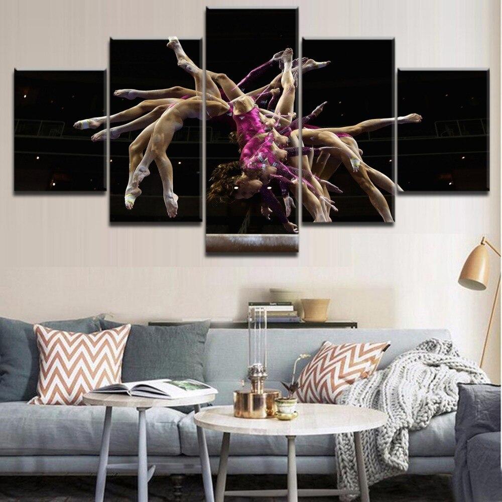 Canvas HD Printed 5 Pieces Sports Painting Wall Art Decor Modular Acrobatics Gymnastics Picture Modern Decor Bedroom Living Room