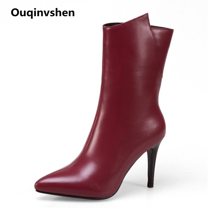 Ouqinvshen Stiletto Pointed Toe High Heels Boots Plus Size Women Concise Fashion Ankle Boots Zipper Thin Heels Winter Boots 9CM ouqinvshen pointed toe thin heels women boots ladies super high heels ankle boots casual fashion butterfly knot women s boots