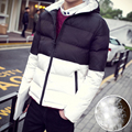 2016 New Men's Patchwork Thick Warm Stand Collar Hooded Jacket Men Winter Coats Casual White Duck Down Sweatshirt Coats