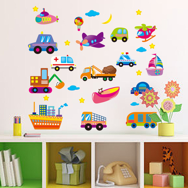 Cartoon Cars Airs Ships Wall Stickers Kids Study Sticker Children Rooms Decoration Transportation DIY Decals Lovely Room Posters