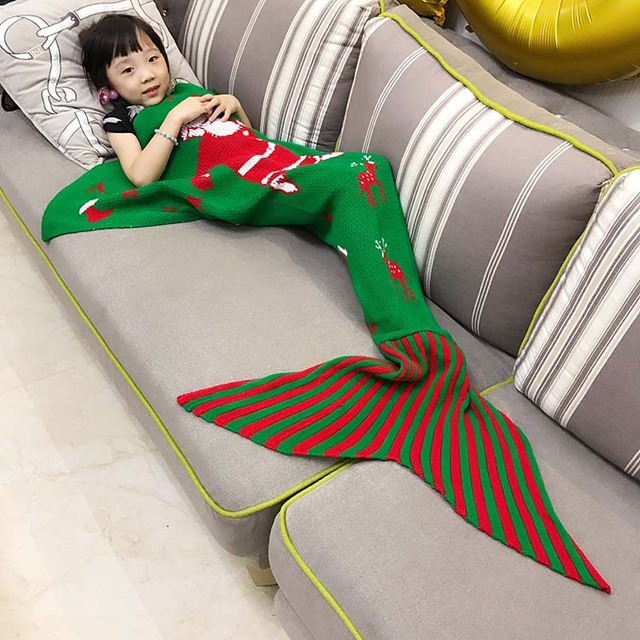 Ins de Europa de buena calidad Bebé manta tejer niños pañales de regalo de Navidad de Santa Claus sirenita Estilo manta